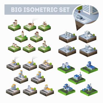 たくさんの建物、高層ビル、道路、工場がある等角投影の都市地図の大規模なセット