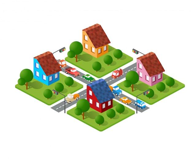 Большой набор изометрических городских объектов.
