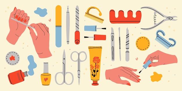 많은 매니큐어 도구 세트. 매니큐어와 부드러운 여성의 손. 매니큐어 및 손 관리를위한 장비 수집.