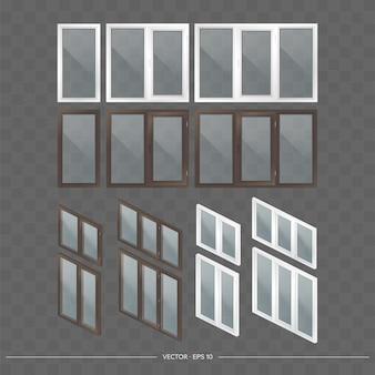 3dの透明なガラスを備えた金属プラスチック窓の大規模なセット。リアルなスタイルのモダンな窓。等長写像、ベクトル図。