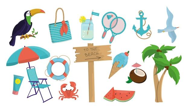 夏のアイテムが満載の大セット。海と夏をテーマにした様々なデザイン要素。ベクトルイラスト、グラフィックデザイン要素。 eps10。