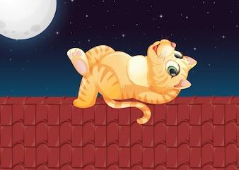 屋根の上の怠惰な猫