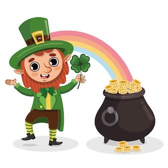 虹の下で金の壺の隣に立っているシャムロックを持っているレプラコーン