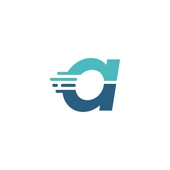 レターダッシュ小文字ハイテクデジタル高速クイック配信ムーブメント青いロゴベクトルアイコンイラスト