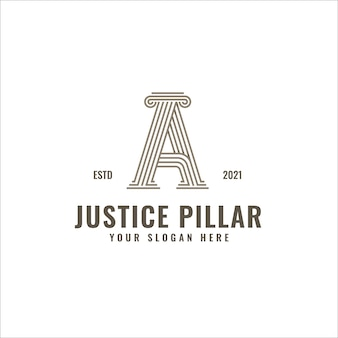 A letter 로고 justice and law firm pillar bold professional line art