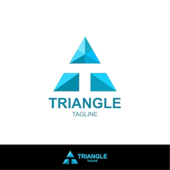 三角形と負のtを持つ文字のロゴ