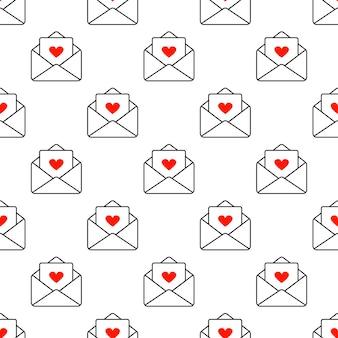 사랑의 고백이 담긴 편지. 완벽 한 패턴입니다. 벡터 일러스트 레이 션. 발렌타인 데이. 추상 사랑 기호입니다. 메시지. 그래픽 패턴입니다.