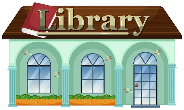 白い背景の図書館