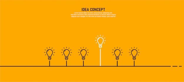 하나의 빛으로 설정된 전구는 성공 전구의 개념입니다.