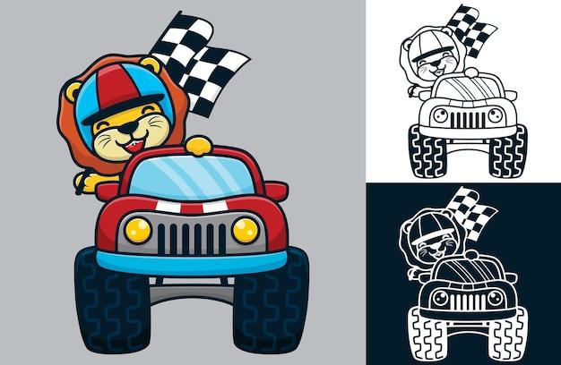 モンスタートラックにヘルメットをかぶったライオン。フラットアイコンスタイルのベクトル漫画イラスト