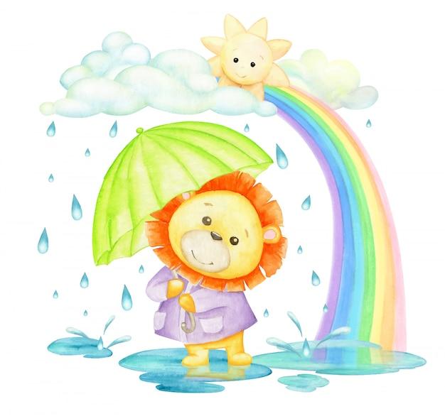 Лев с зонтиком под дождем и радугой. акварельное понятие. тропическое животное, в мультяшном стиле.