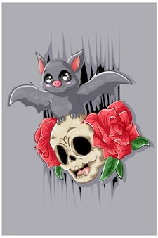 2つのバラのイラストと頭蓋骨の顔に小さなコウモリ