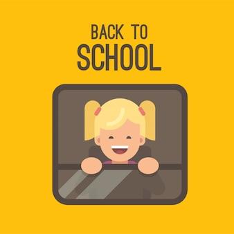 노란색 스쿨 버스의 창 밖을 보면서 작은 금발 소녀. 학교로 돌아가다