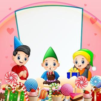 小さな男の子の誕生日パーティーの背景イラスト