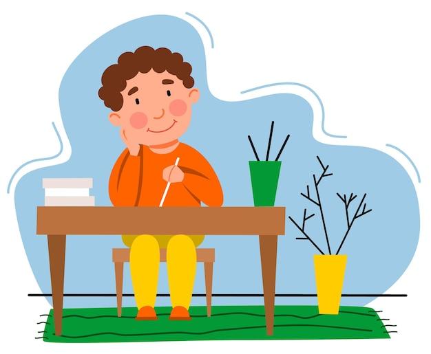 어린 소년이 숙제를 하고 있습니다. 아이는 테이블에 씁니다. 평면 스타일의 벡터 일러스트 레이 션.