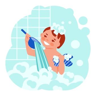 Маленького мальчика моют в пенной ванне. векторный концепт. мультяшный плоский стиль.