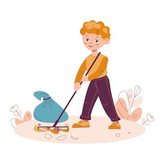 어린 소년은 나뭇잎 파편을 긁어 모아 쓰레기를 재활용하는 자연 청소 개념