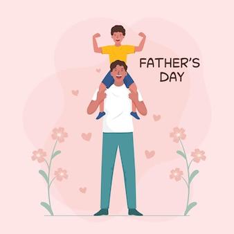 아빠의 어깨에 앉아 어린 소년