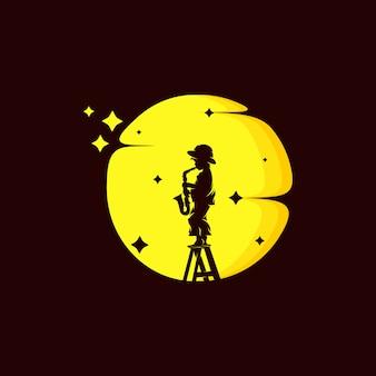 Маленький мальчик саксофон на луне