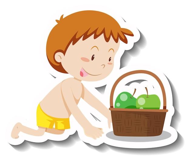 바구니 만화 스티커에 녹색 사과와 어린 소년