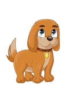 Маленькая милая коричневая собачка с голубыми глазами, мультяшный дизайн животных