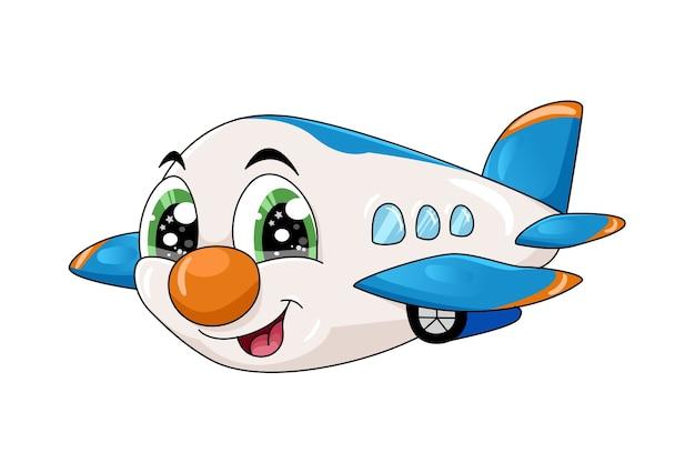 조금 귀여운 만화 비행기 캐릭터 일러스트