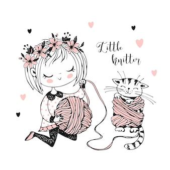 かわいい女の子が糸をボールに巻いていて、子猫は糸に絡まっています。