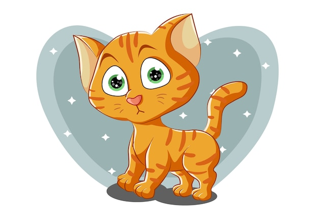 Маленький милый оранжевый кот с зелеными глазами, карикатура