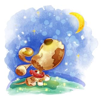 Маленькая собака в красном ошейнике воет на луну.