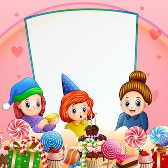 小さな女の子の誕生日パーティーの背景イラスト