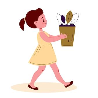 小さな女の子はフラット漫画スタイルで植木鉢ベクトルイラストを運ぶ