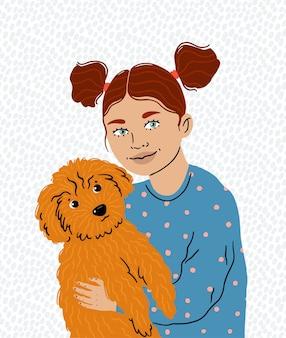 小さな女の子が愛するペット、そのかわいいトイプードルを抱きしめます。ペットケア。動物への愛。