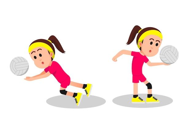 Маленькая девочка играет в волейбол в двух позах