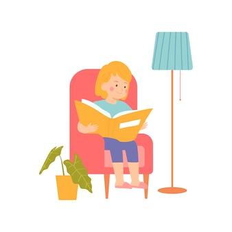 小さな女の子が椅子に座って、彼女の本を読みますベクトルイラスト漫画風のキャラクター