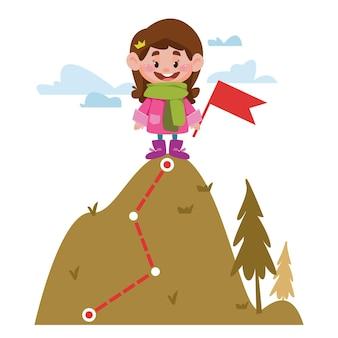 어린 소녀는 산 꼭대기에 서서 깃발을 들고 개념 성공 정복 승리