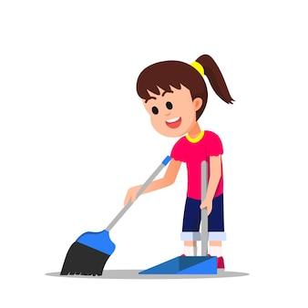 小さな女の子が床を掃除します