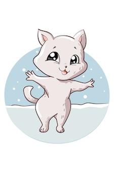 少し幸せで面白い白猫の動物