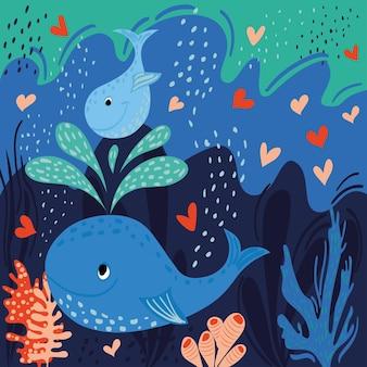 작은 고래는 엄마의 분수를 탄다. 밝은 벡터 일러스트 레이 션. 어머니의 날 인사말 카드입니다.