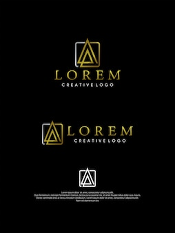 Буквы a logo, логотип monogram gold