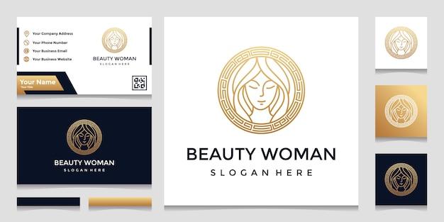 かわいらしいフェイスラインアートスタイルと名刺デザインのロゴ。ビューティーサロン、マッサージ、化粧品、スパのデザインコンセプト。