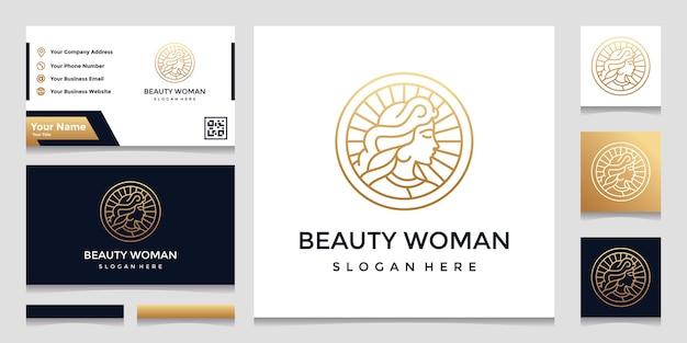 かわいらしいフェイスラインアートスタイルと名刺デザインのロゴ。ビューティーサロンのデザインコンセプト