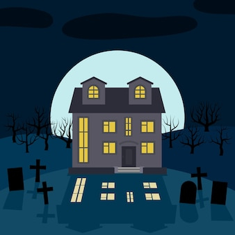Одинокий дом ночью перед луной. векторный фон для хэллоуина