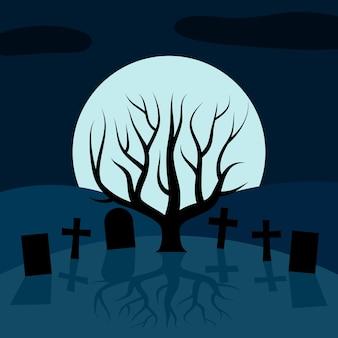 Одинокое дерево на кладбище ночью перед луной. векторный фон для хэллоуина