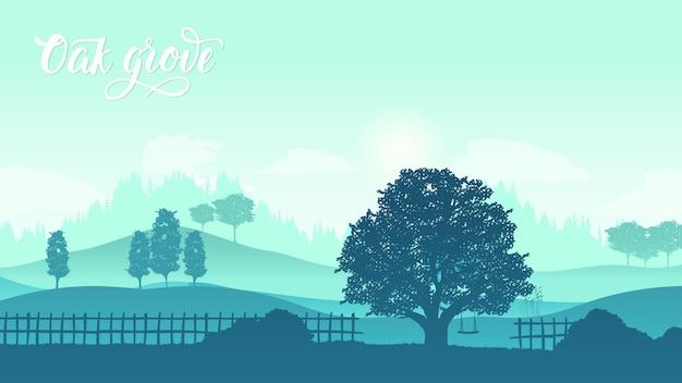 日没時の緑の丘の上の孤独な木。トスカーナの丘に囲まれた美しい夕日。