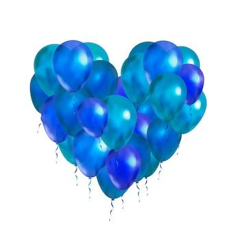 Много синих шаров в форме сердца на белом