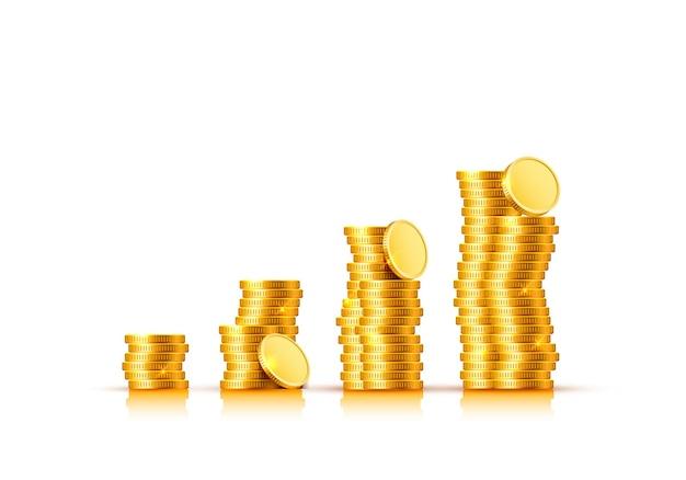 Много монет на прозрачном фоне. векторная иллюстрация