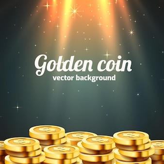 Много монет со световым лучом.