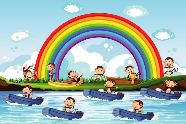 Много обезьян катаются на моторной лодке по реке