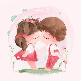 活気のある自然の中でバレンタインの日にキスをする素敵なカップル。