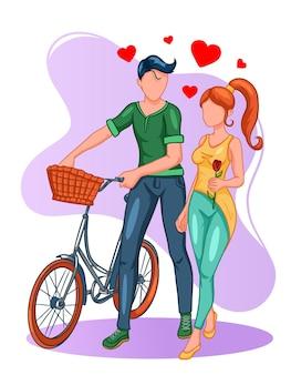 Влюбленная пара на прогулке на велосипеде. девушка с розой в руках. мультяшный стиль.